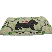 Early Primitive Hand Hooked Scottie Scotty Dog Rug/Hand Hooked Rug