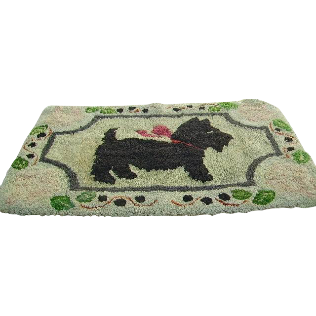 Dog Hooked Rugs: Early Primitive Hand Hooked Scottie Scotty Dog Rug/Hand