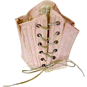 Antique Pink Silk French Doll Corset Bebe Corset