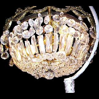 Gorgeous Vintage Bronze Crystal Prisms Basket Shape Ceiling Chandelier Light