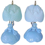 Vintage 1930's Blue Glass Southern Belle Boudoir Lamps Pair