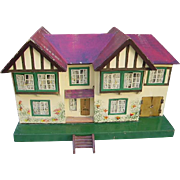 Early Vintage Triang Tudor Dollhouse Complete with Furniture,Dolls 76 pcs.