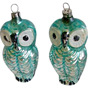 Vintage 1920's German Glass Figural Owl Ornaments (2) Signed Germany