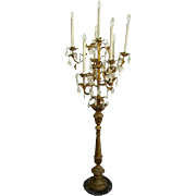 "Fabulous Italian Tole Florentine Prisms Chandelier Candelabra Floor Lamp 67"""