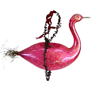 Late 1800's Victorian Large Blown Glass Pink Swan Tinsel/Wire Christmas Ornament/Feather Tree Ornament