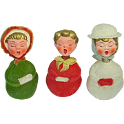 RESERVED -Vintage(3) German Paper Mache Christmas Carolers Candy Containers/Spring Head/Bobber