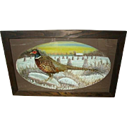 Huge Early Pheasant Taxidermy Diorama ca.1922: Pheasant Taxidermy Shadowbox