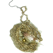 Victorian Tinsel Bird Nest with Blown Glass Bird Christmas Ornament