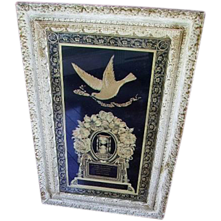 Antique Victorian c.1912 Mourning Litho in Original Carved Wood Frame/Stengle Family