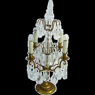 "Exquisite French Gold Bronze Girandole Crystal Prisms Candelabra Table Chandelier Light 26"""