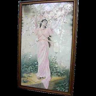 """Gorgeous Huge Antique Art Nouveau Maiden Painting on Canvas 48"""""""