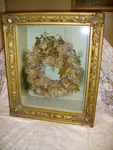 rare large1800s victorian wax flowers mourning wreath in