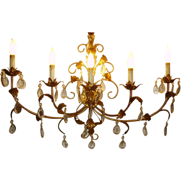 Candelabra Wall Lights : Vintage Italian Tole Gilt Gold Large Wall Sconce Candelabra Dripping SOLD on Ruby Lane