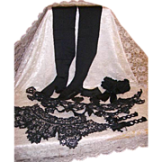 Reserved -Antique Victorian Mourning Collection Lace Collars,Gutta Percha Pin,Stockings