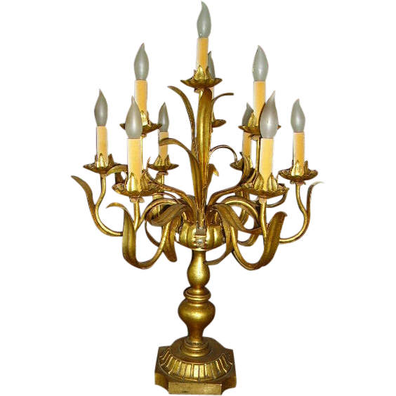 Fabulous French Gilt Tole And Wood Candelabra Lamp Table