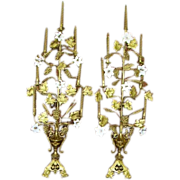 Antique French Floral Altar Candelabra Girandoles Pair/ Glass Flowers/ 50""