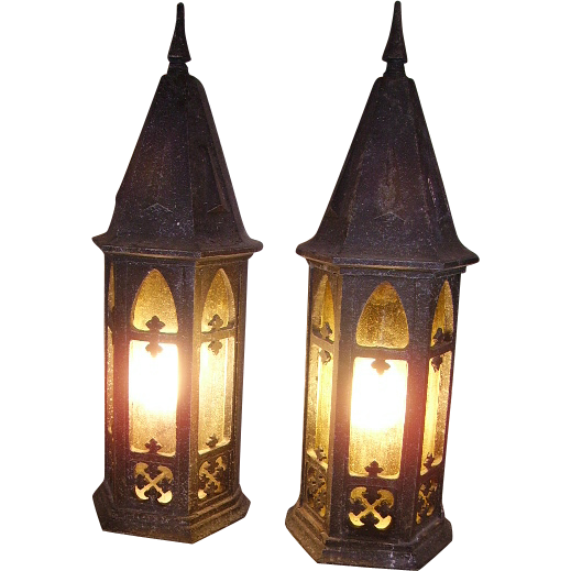 Pair Of Simple Church Lights For Sale: Early Pair Gothic Style Wall Porch Lights From Old Church