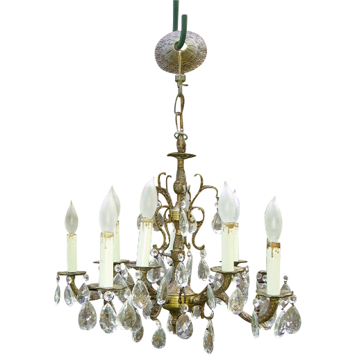 Vintage Spanish Brass Chandelier Dripping Prisms 10 Light SOLD | Ruby Lane - Vintage Spanish Brass Chandelier Dripping Prisms 10 Light SOLD