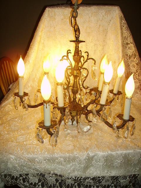 Vintage Spanish Brass Chandelier Dripping Prisms 10 Light