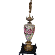 "RESERVED Art Nouveau Maiden Cloisonne Urn 34"" Tall"