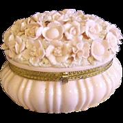 RESERVED -Exquisite Vintage Pink Porcelain Flowers Large Trinket Casket Box