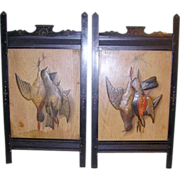 Pair 1800's Victorian Eastlake Ebony Carved Picture Frames