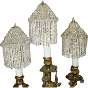 Early Crystal Beaded Fringe Candle Bulb Cover Lamp Shades (6) Sconce Shades