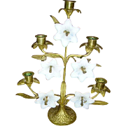 RESERVED Early French Brass Floral Altar Candelabra White Glass Flowers