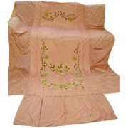 Gorgeous 1930's  Silky Taffeta with Velvet Flowers Bedspread Hollywood Glam