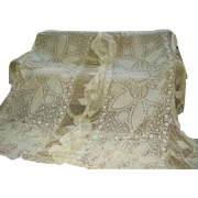 Exquisite 1920s  Pair French Tambour Net Lace Bedspreads Bed Covers/Pillow Covers
