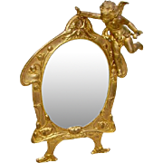 Early 1900 Cherub Mirror/Picture Frame 24K Gold Plated Signed A.M.W Art Metal Works