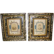Antique Victorian Eastlake Frames Pr Floral Mat Ribbon Trim Shadow Box Frames
