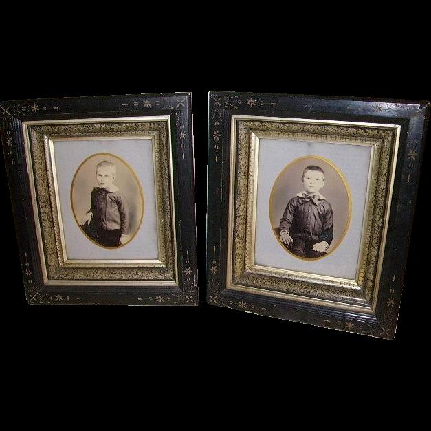 pair 1800u0027s victorian eastlake ebony spoon carved shadow box picture frames