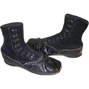 Victorian Childs Velvet and Leather High Top Button Up Shoes