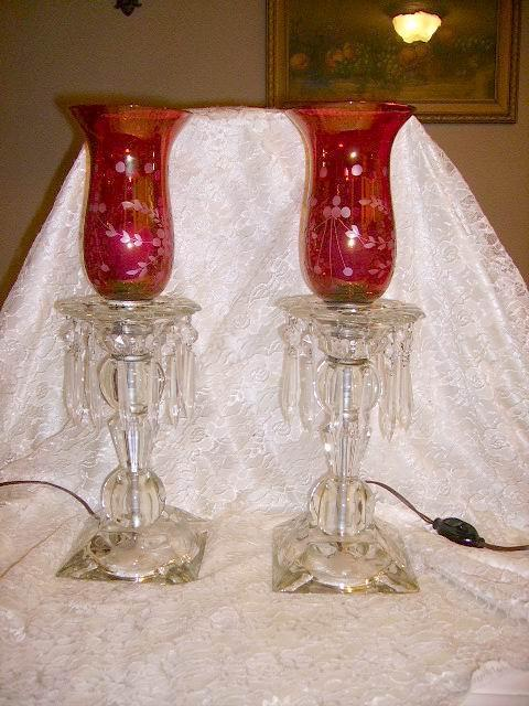 Vintage Pair Crystal Cranberry Hurricane Shade Lamps From
