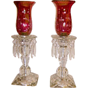 Vintage Pair Crystal Cranberry Hurricane Shade Lamps