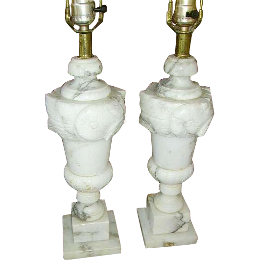 Vintage Italian Alabaster Carved Marble Lamps Pair