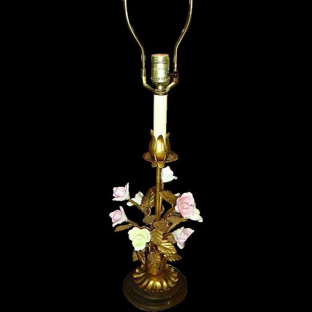 Lovely Vintage Italian Gilt Tole Porcelain Roses Table