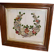 Antique Victorian Stumpwork Flowers Mourning Wreath in Shadowbox Frame 1800s
