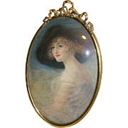 Haskell Coffin Lady Portrait Print in Original Bow Top Convex Glass Frame