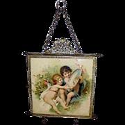 Victorian Cherub Children Triple Folding Mirror c.1907 Vanity Mirror Trifold