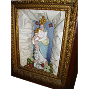 Antique Religious Shadowbox Icon Virgin Mary and Child Oak Gesso Frame