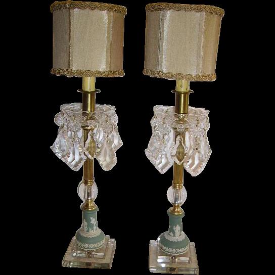 Elegant Vintage Jasperware Wedgwood Crystal Prisms Pair ...