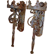 Early Architectural Pair Gothic Castle Iron Wall Sconce Lights Chippy Rusty