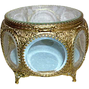 Gorgeous Vintage Ormolu 8 Sided Beveled Glass Jewelry Casket Box