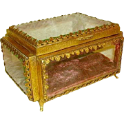 Antique French Bronze Ormolu Large Glass Casket Box Musical