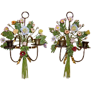 Fabulous Vintage Pair Porcelain Flowers Wall Sconces Candleholders
