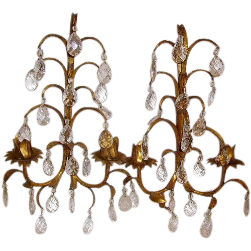 Vintage Italian Gilt Tole Metal Prisms Wall Sconces from huntwoodantiques on Ruby Lane