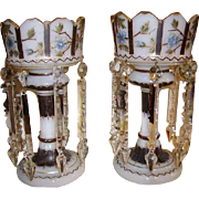 Gorgeous Pair Enamel Flowers Lusters Large Mantle Lustres