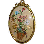 Vintage 1930s French Beaded Flowers in Bow Top Convex Glass Oval Frame